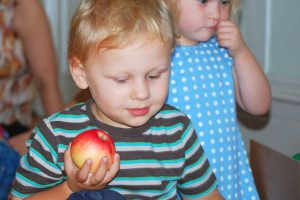 boy with apple action kids